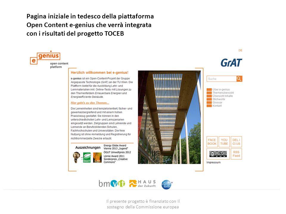 Il presente progetto è finanziato con il sostegno della Commissione europea Pagina iniziale in tedesco della piattaforma Open Content e-genius che verrà integrata con i risultati del progetto TOCEB