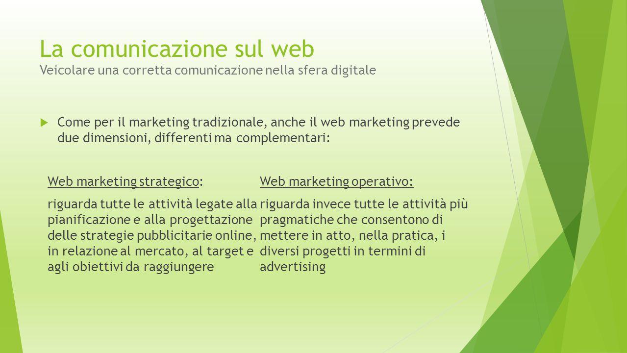 La comunicazione sul web Veicolare una corretta comunicazione nella sfera digitale  Come per il marketing tradizionale, anche il web marketing preved
