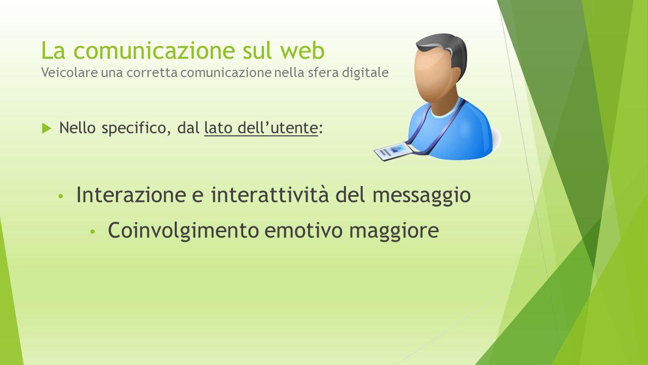 La comunicazione sul web Veicolare una corretta comunicazione nella sfera digitale  Nello specifico, dal lato dell'utente: Interazione e interattivit