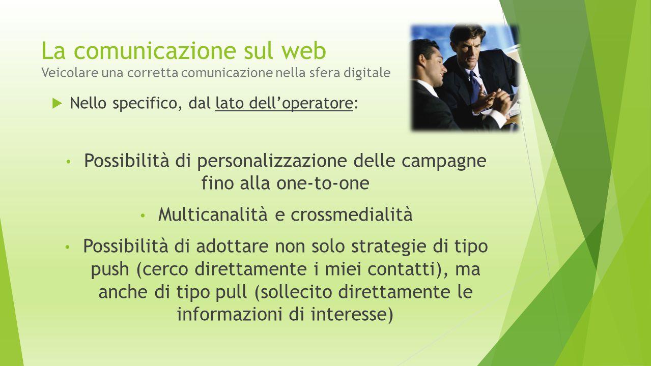 La comunicazione sul web Veicolare una corretta comunicazione nella sfera digitale  Nello specifico, dal lato dell'operatore: Possibilità di personal