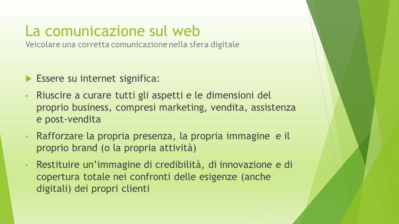  Essere su internet significa: Riuscire a curare tutti gli aspetti e le dimensioni del proprio business, compresi marketing, vendita, assistenza e po