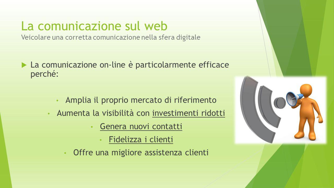 La comunicazione sul web Veicolare una corretta comunicazione nella sfera digitale  La comunicazione on-line è particolarmente efficace perché: Ampli