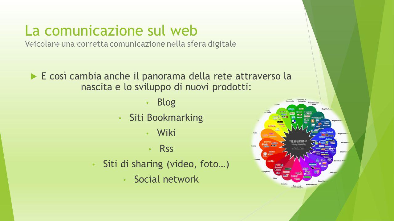 La comunicazione sul web Veicolare una corretta comunicazione nella sfera digitale  E così cambia anche il panorama della rete attraverso la nascita