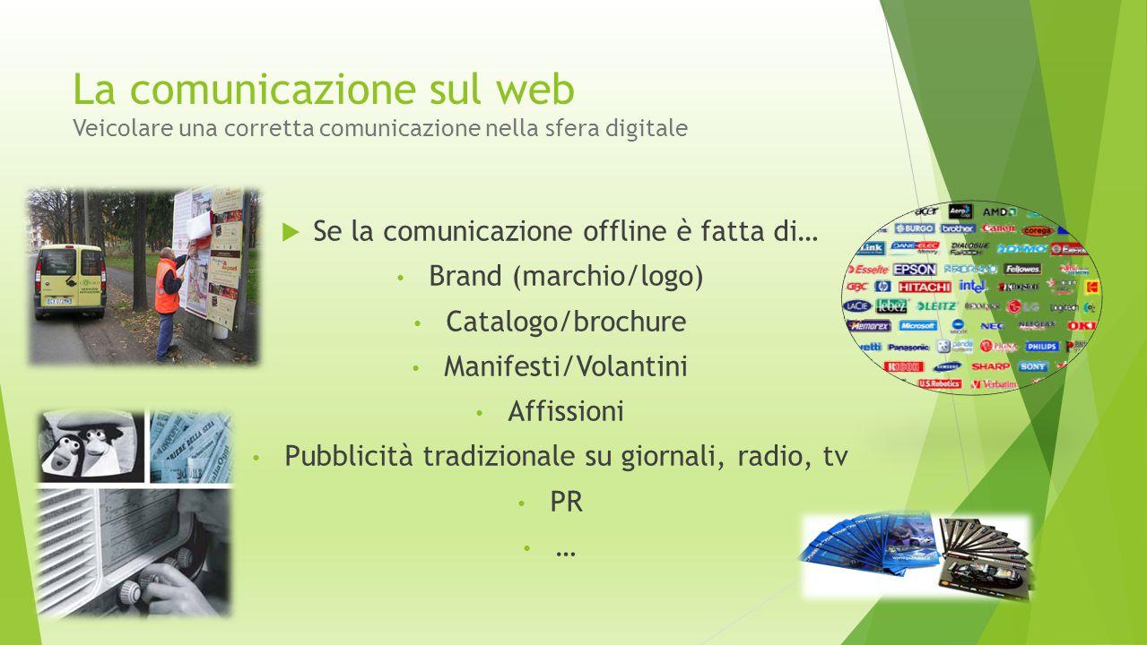 La comunicazione sul web Veicolare una corretta comunicazione nella sfera digitale  Se la comunicazione offline è fatta di… Brand (marchio/logo) Cata