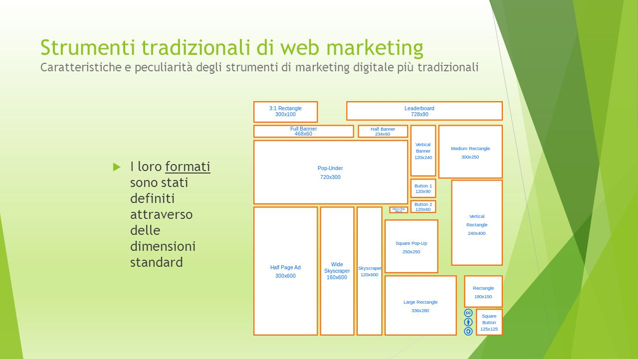 Strumenti tradizionali di web marketing Caratteristiche e peculiarità degli strumenti di marketing digitale più tradizionali  I loro formati sono sta