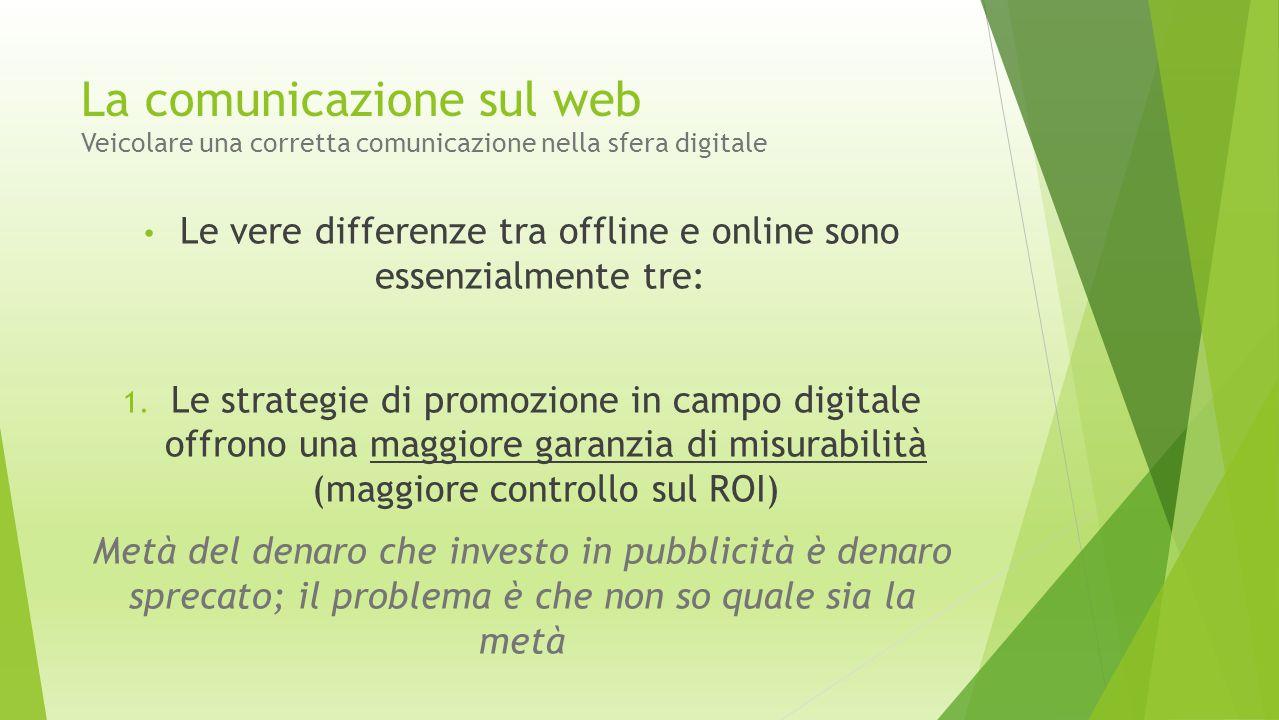  Infine, dal livello di pianificazione: Strategia media Strategia creativa Effetti e misurazione La comunicazione sul web Veicolare una corretta comunicazione nella sfera digitale