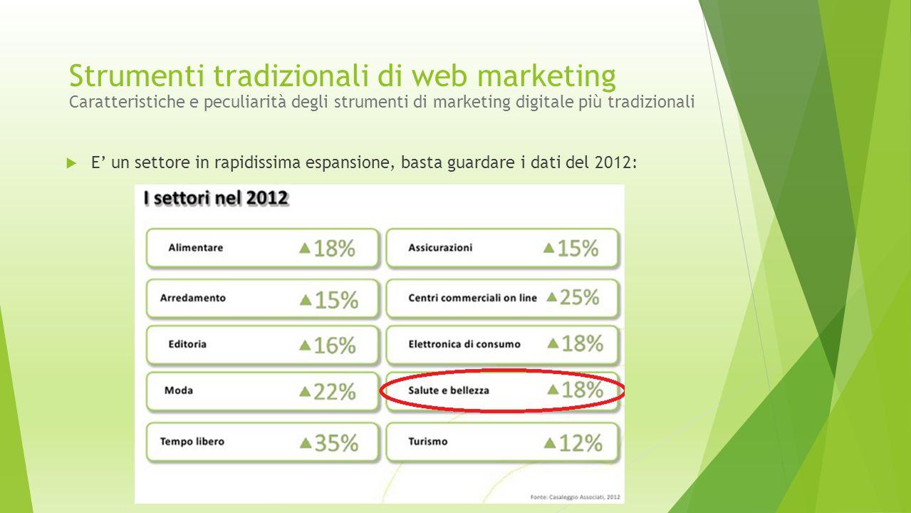  E' un settore in rapidissima espansione, basta guardare i dati del 2012: Strumenti tradizionali di web marketing Caratteristiche e peculiarità degli