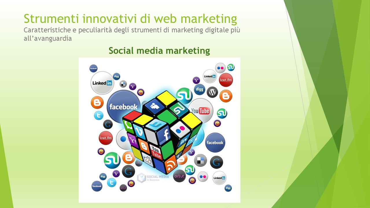 Strumenti innovativi di web marketing Caratteristiche e peculiarità degli strumenti di marketing digitale più all'avanguardia Social media marketing