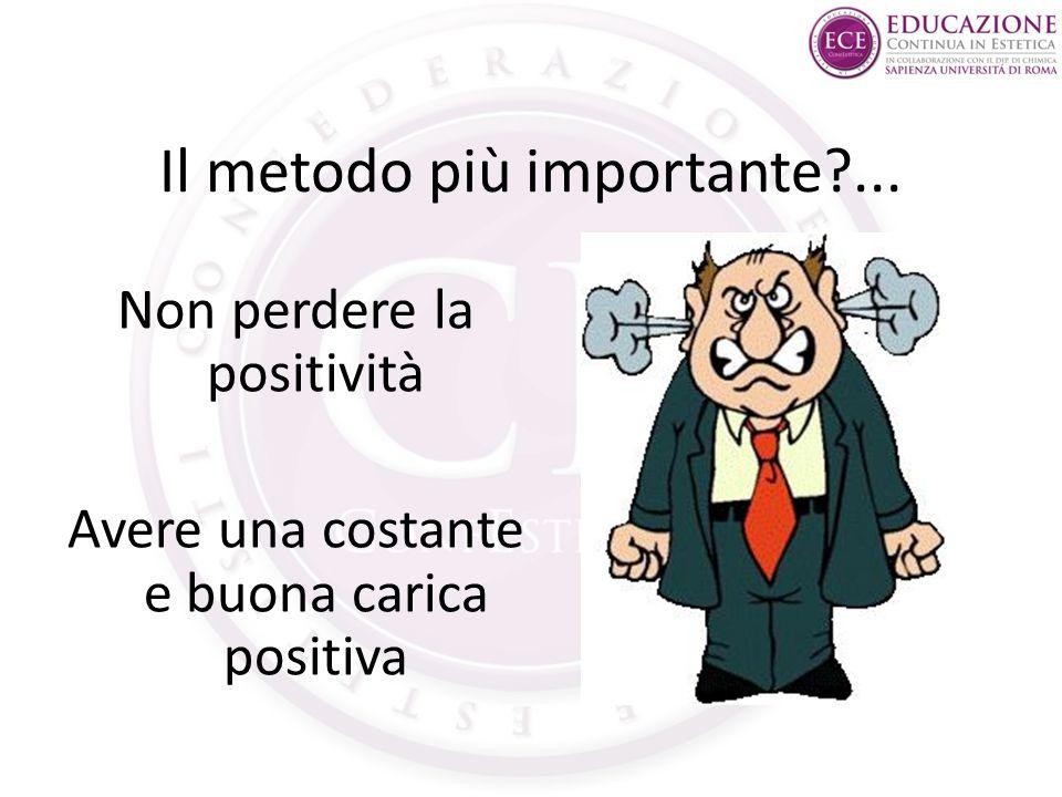 Il metodo più importante?... Non perdere la positività Avere una costante e buona carica positiva