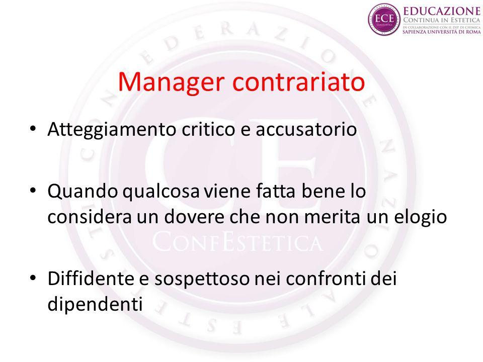 Manager contrariato Atteggiamento critico e accusatorio Quando qualcosa viene fatta bene lo considera un dovere che non merita un elogio Diffidente e