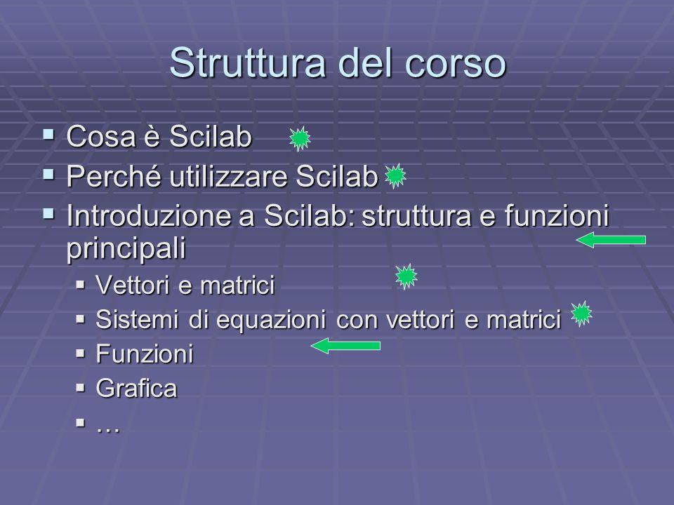 Struttura del corso  Cosa è Scilab  Perché utilizzare Scilab  Introduzione a Scilab: struttura e funzioni principali  Vettori e matrici  Sistemi di equazioni con vettori e matrici  Funzioni  Grafica  …