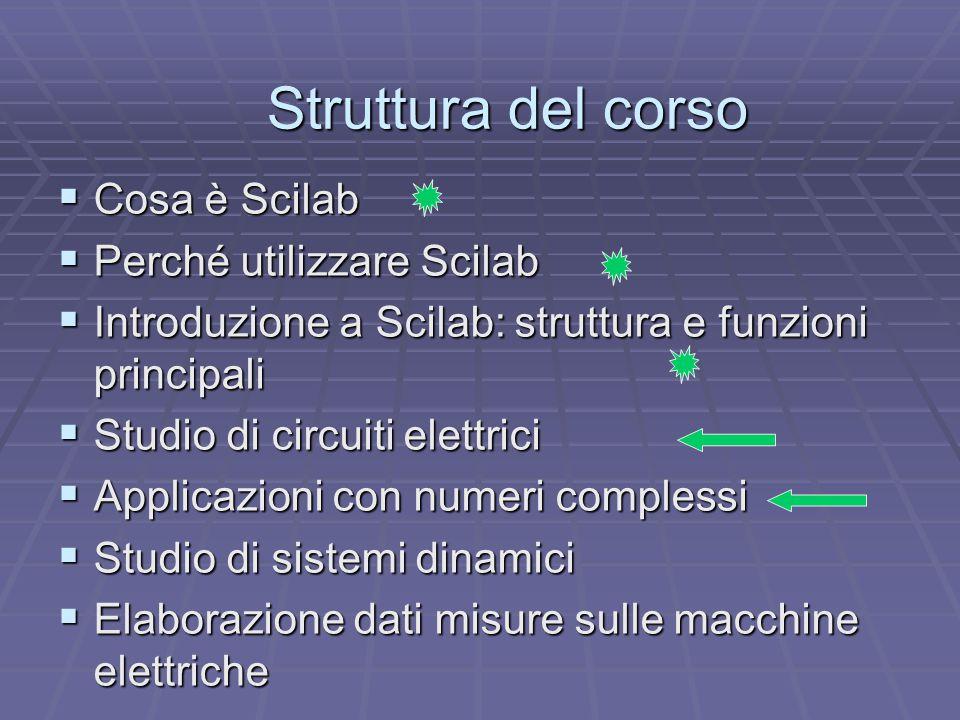 Struttura del corso  Cosa è Scilab  Perché utilizzare Scilab  Introduzione a Scilab: struttura e funzioni principali  Studio di circuiti elettrici