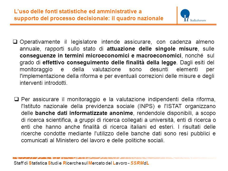 Staff di S tatistica S tudi e R icerche sul M ercato del L avoro - SSRM d L L'uso delle fonti statistiche ed amministrative a supporto del processo de