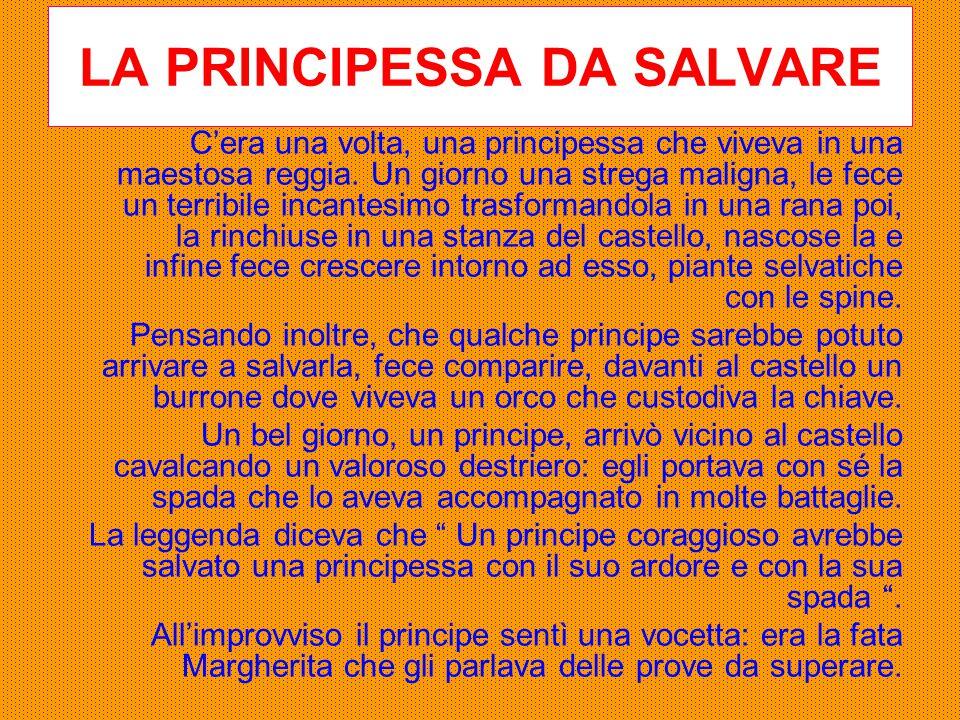 LA PRINCIPESSA DA SALVARE C'era una volta, una principessa che viveva in una maestosa reggia. Un giorno una strega maligna, le fece un terribile incan