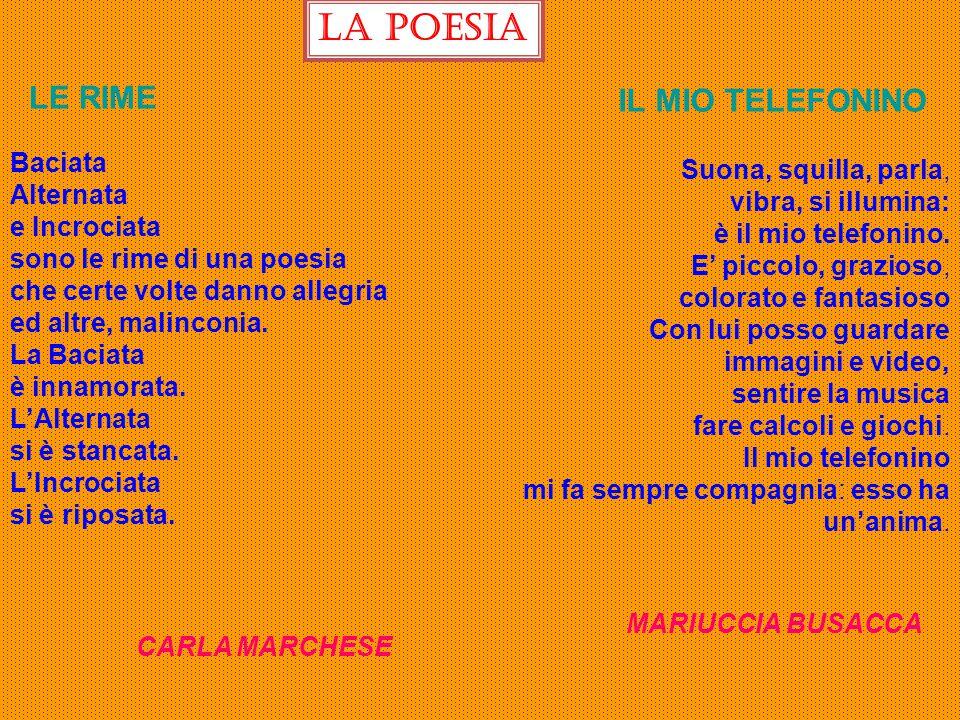 La poesia LE RIME IL MIO TELEFONINO Baciata Alternata e Incrociata sono le rime di una poesia che certe volte danno allegria ed altre, malinconia. La