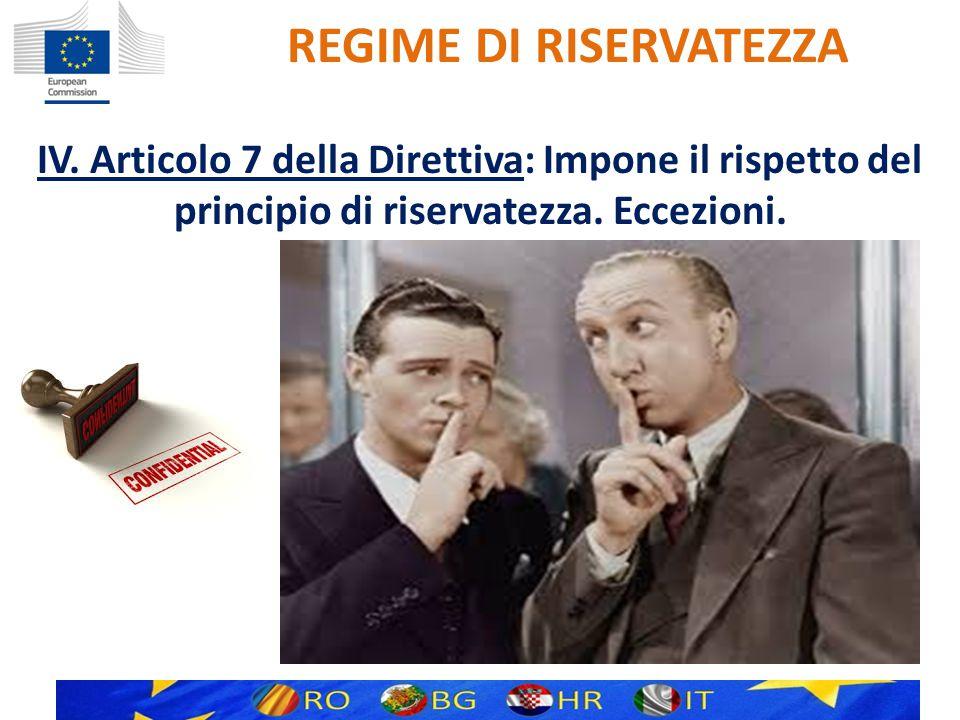 REGIME DI RISERVATEZZA IV.