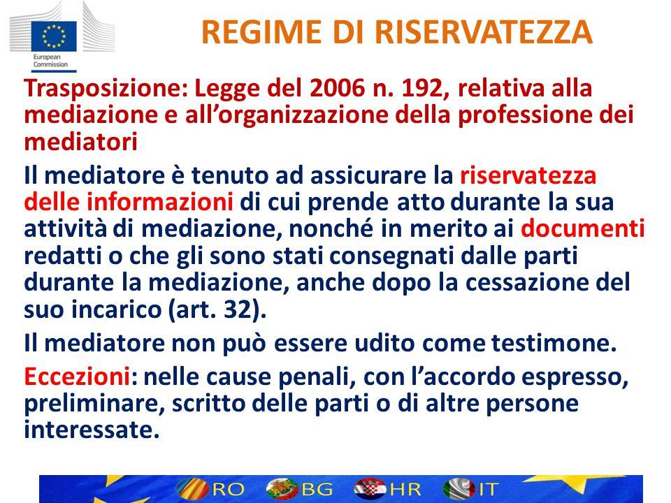REGIME DI RISERVATEZZA Trasposizione: Legge del 2006 n.