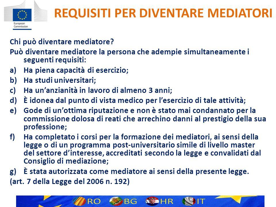 REQUISITI PER DIVENTARE MEDIATORI Esiste una norma per la formazione dei mediatori.