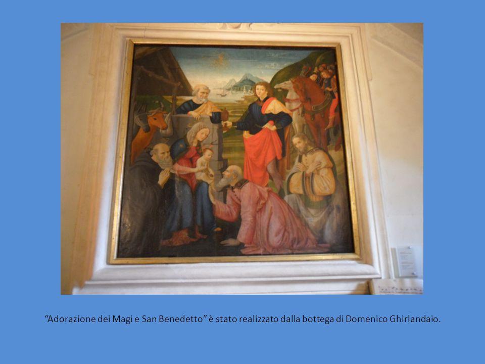 """""""Adorazione dei Magi e San Benedetto"""" è stato realizzato dalla bottega di Domenico Ghirlandaio."""