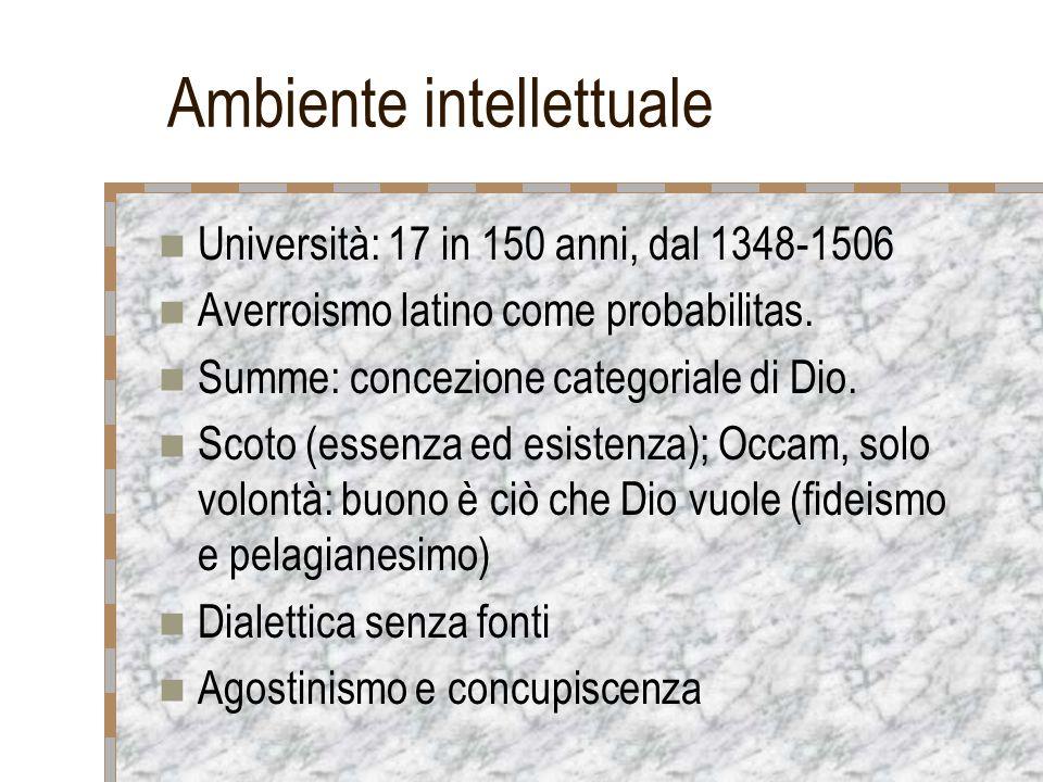 Ambiente intellettuale Università: 17 in 150 anni, dal 1348-1506 Averroismo latino come probabilitas. Summe: concezione categoriale di Dio. Scoto (ess