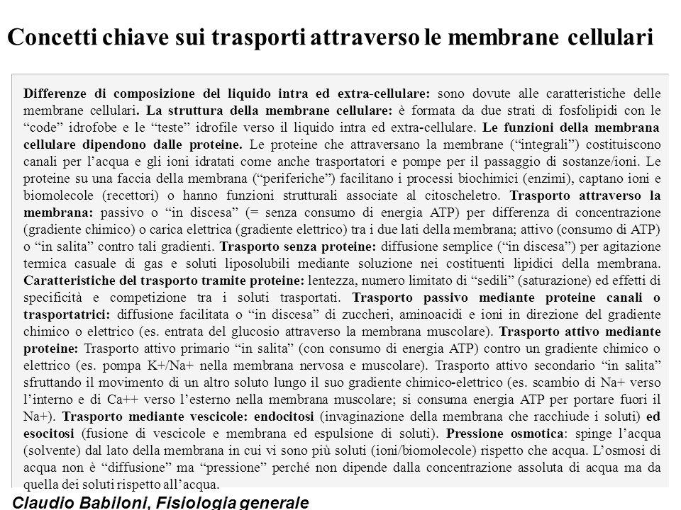 Claudio Babiloni, Fisiologia generale Concetti chiave sui trasporti attraverso le membrane cellulari Differenze di composizione del liquido intra ed e