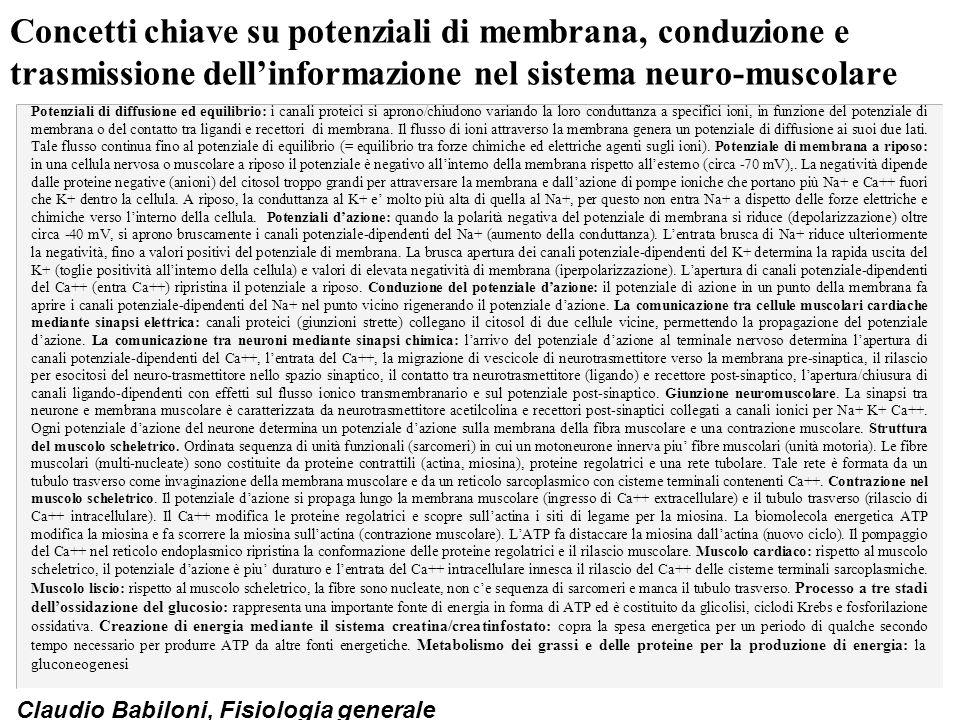 Claudio Babiloni, Fisiologia generale Concetti chiave su potenziali di membrana, conduzione e trasmissione dell'informazione nel sistema neuro-muscola