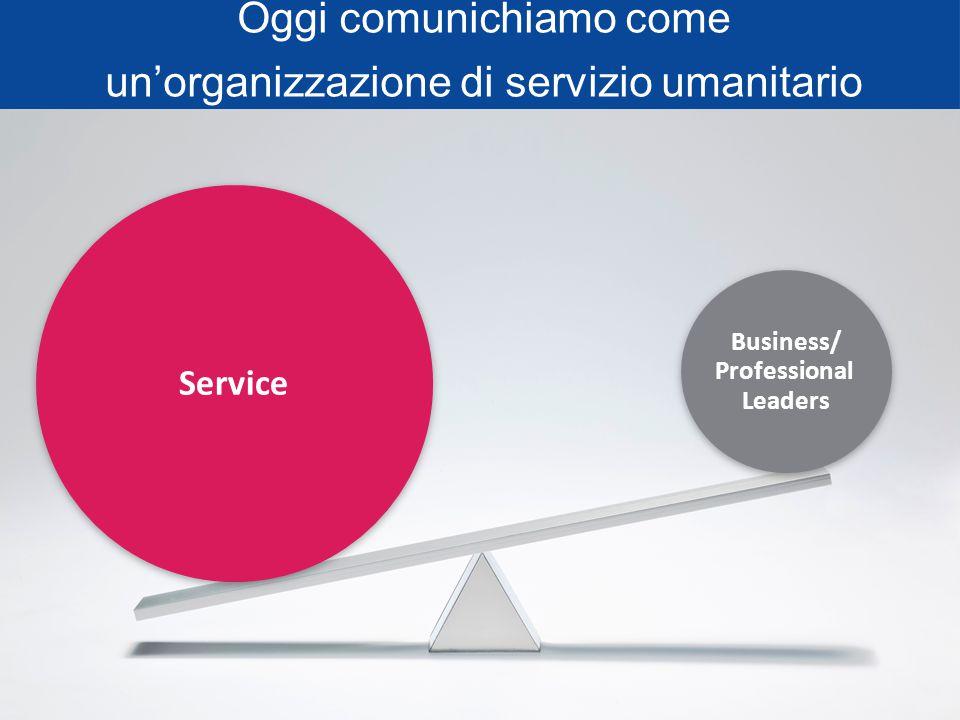 Oggi comunichiamo come un'organizzazione di servizio umanitario Business/ Professional Leaders Service