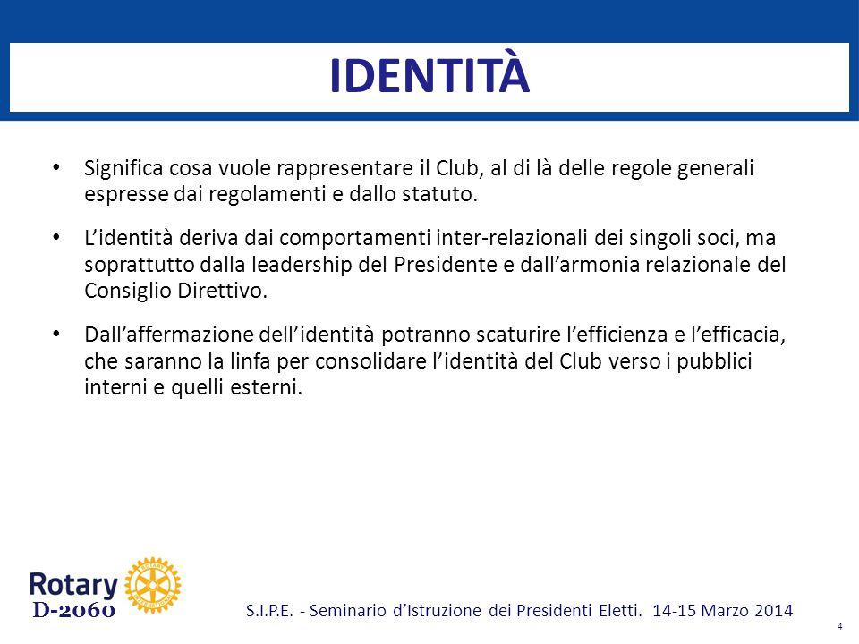 D-2060 IDENTITÀ Significa cosa vuole rappresentare il Club, al di là delle regole generali espresse dai regolamenti e dallo statuto. L'identità deriva