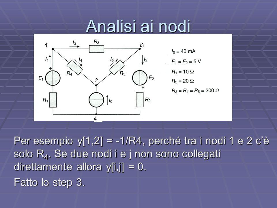 Analisi ai nodi Per esempio y[1,2] = -1/R4, perché tra i nodi 1 e 2 c'è solo R 4. Se due nodi i e j non sono collegati direttamente allora y[i,j] = 0.