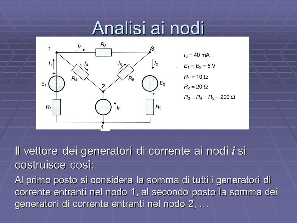 Analisi ai nodi Il vettore dei generatori di corrente ai nodi i si costruisce così: Al primo posto si considera la somma di tutti i generatori di corr