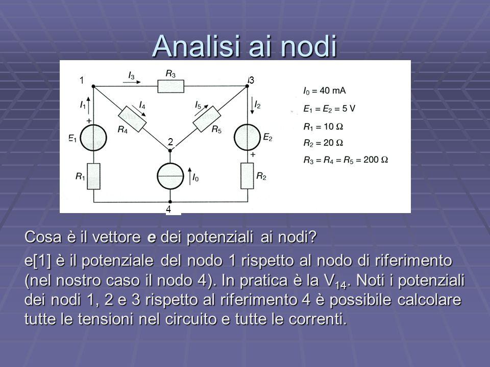 Analisi ai nodi Cosa è il vettore e dei potenziali ai nodi? e[1] è il potenziale del nodo 1 rispetto al nodo di riferimento (nel nostro caso il nodo 4