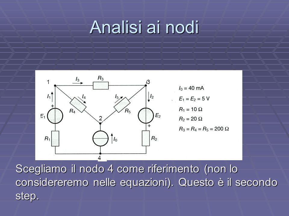 Analisi ai nodi Scegliamo il nodo 4 come riferimento (non lo considereremo nelle equazioni). Questo è il secondo step. 1 2 3 4