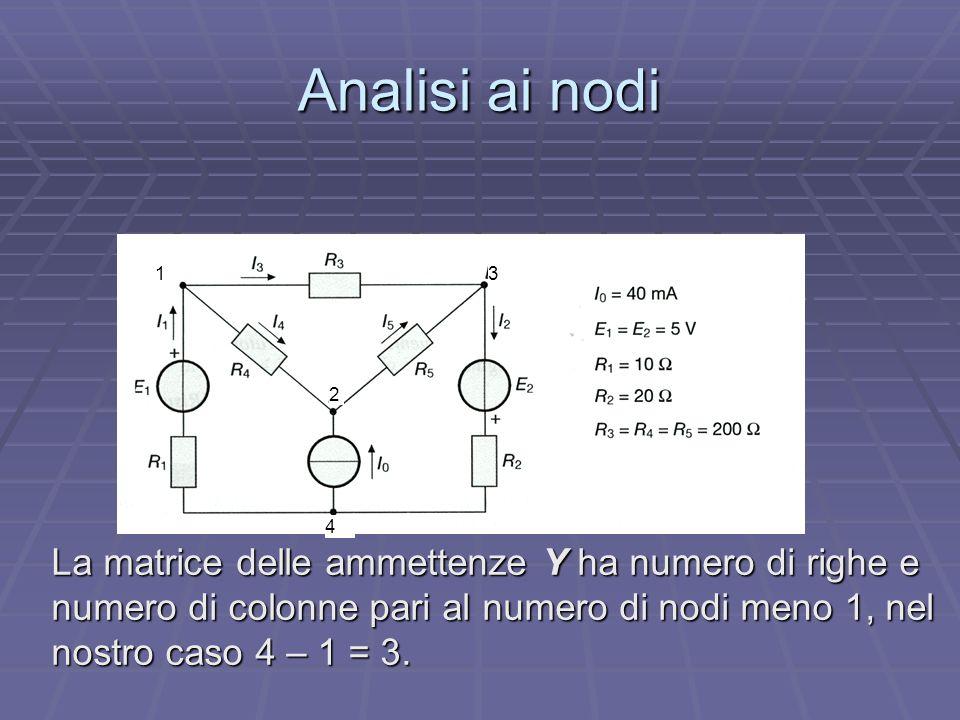 Analisi ai nodi La matrice delle ammettenze Y ha numero di righe e numero di colonne pari al numero di nodi meno 1, nel nostro caso 4 – 1 = 3. 1 2 3 4