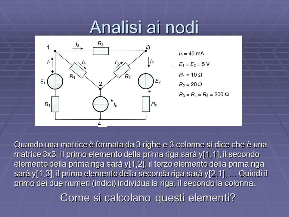 Analisi ai nodi Quando una matrice è formata da 3 righe e 3 colonne si dice che è una matrice 3x3. Il primo elemento della prima riga sarà y[1,1], il