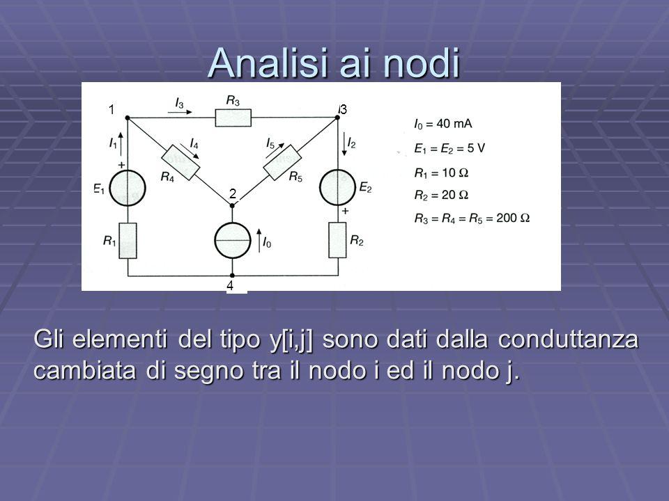 Analisi ai nodi Gli elementi del tipo y[i,j] sono dati dalla conduttanza cambiata di segno tra il nodo i ed il nodo j. 1 2 3 4