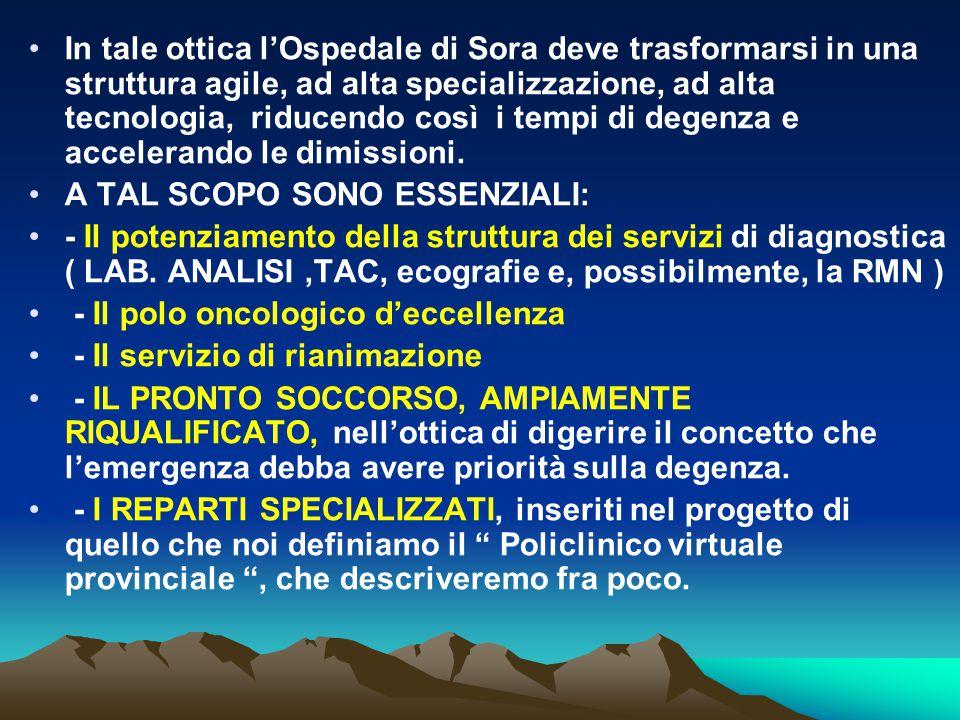 In tale ottica l'Ospedale di Sora deve trasformarsi in una struttura agile, ad alta specializzazione, ad alta tecnologia, riducendo così i tempi di degenza e accelerando le dimissioni.