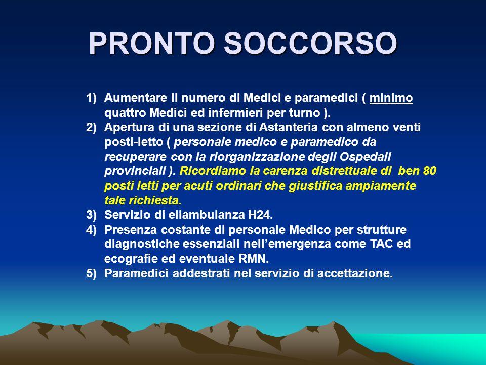 1)Aumentare il numero di Medici e paramedici ( minimo quattro Medici ed infermieri per turno ).