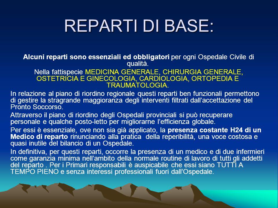 REPARTI DI BASE: Alcuni reparti sono essenziali ed obbligatori per ogni Ospedale Civile di qualità.