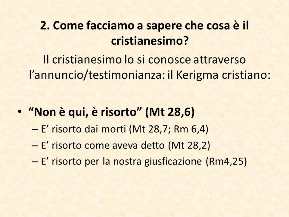 """2. Come facciamo a sapere che cosa è il cristianesimo? Il cristianesimo lo si conosce attraverso l'annuncio/testimonianza: il Kerigma cristiano: """"Non"""