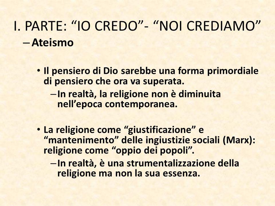 """I. PARTE: """"IO CREDO""""- """"NOI CREDIAMO"""" – Ateismo Il pensiero di Dio sarebbe una forma primordiale di pensiero che ora va superata. – In realtà, la relig"""