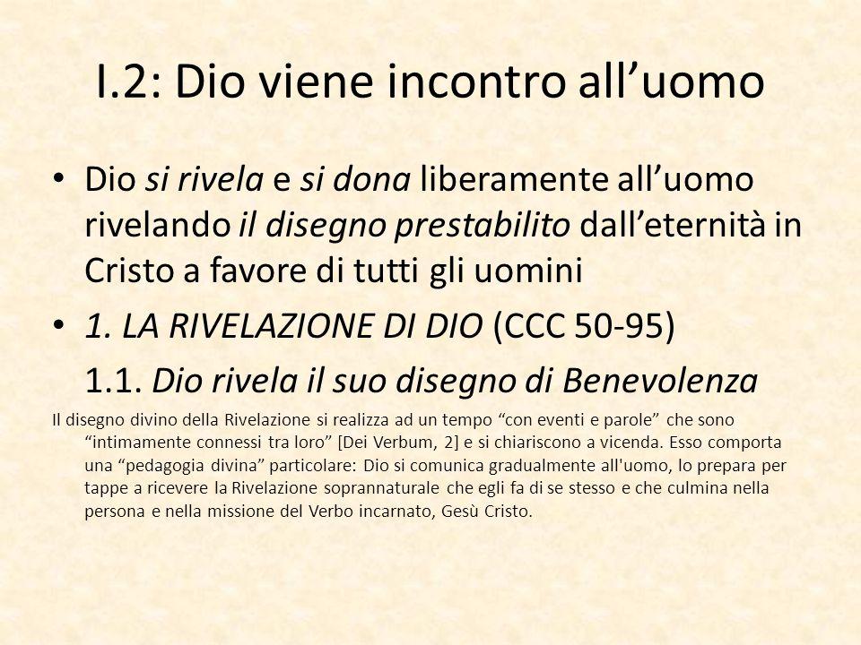 I.2: Dio viene incontro all'uomo Dio si rivela e si dona liberamente all'uomo rivelando il disegno prestabilito dall'eternità in Cristo a favore di tutti gli uomini 1.