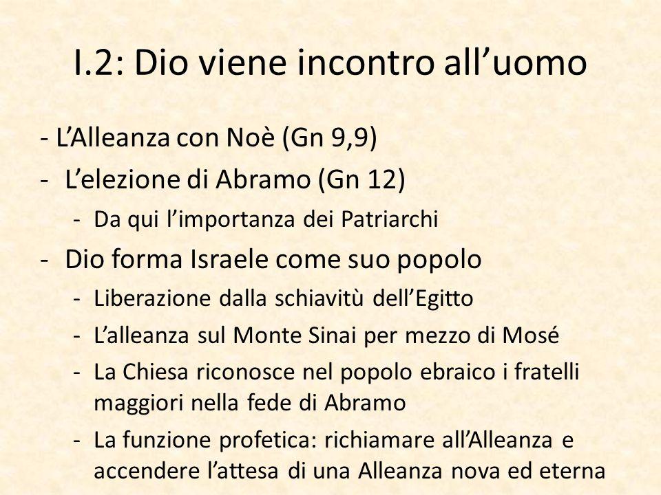 I.2: Dio viene incontro all'uomo - L'Alleanza con Noè (Gn 9,9) -L'elezione di Abramo (Gn 12) -Da qui l'importanza dei Patriarchi -Dio forma Israele co