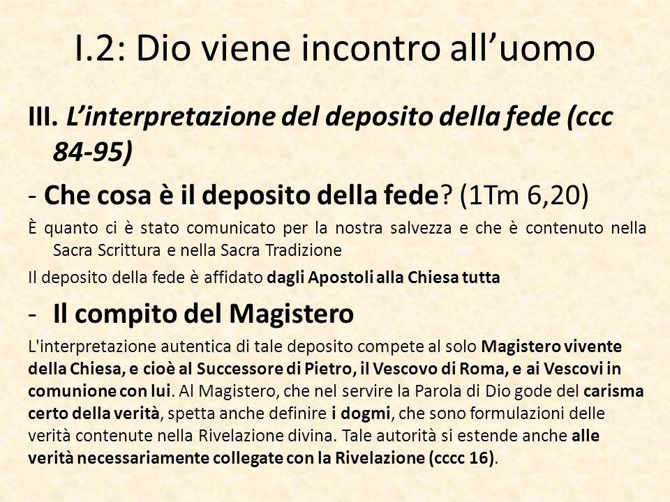 I.2: Dio viene incontro all'uomo III. L'interpretazione del deposito della fede (ccc 84-95) - Che cosa è il deposito della fede? (1Tm 6,20) È quanto c
