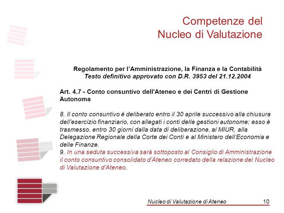 Nucleo di Valutazione di Ateneo10 Competenze del Nucleo di Valutazione Regolamento per l'Amministrazione, la Finanza e la Contabilità Testo definitivo