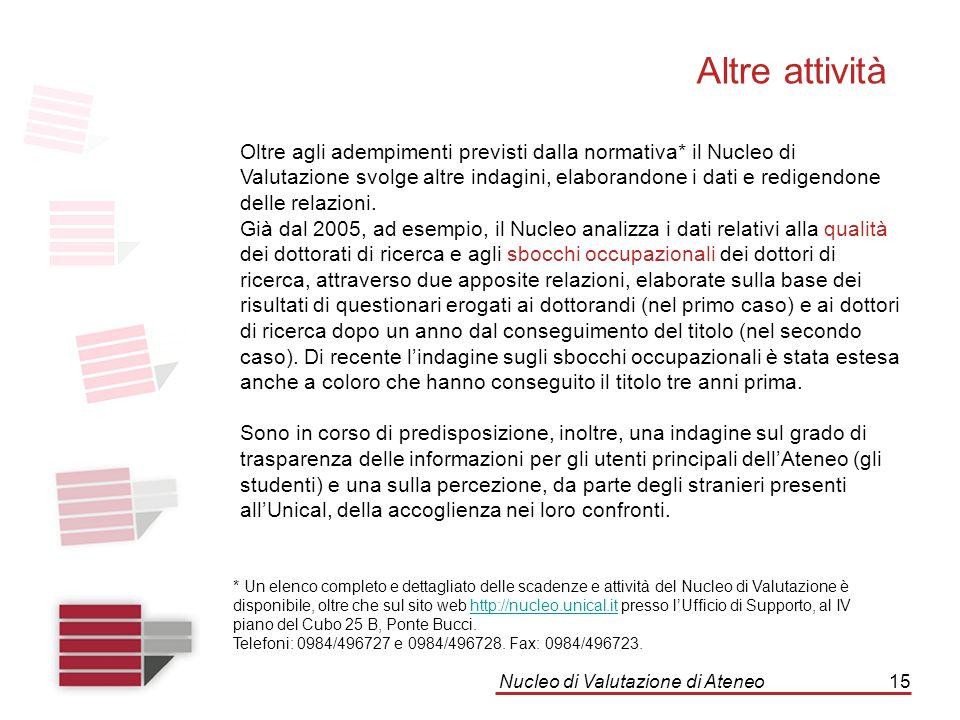 Nucleo di Valutazione di Ateneo15 Altre attività Oltre agli adempimenti previsti dalla normativa* il Nucleo di Valutazione svolge altre indagini, elab