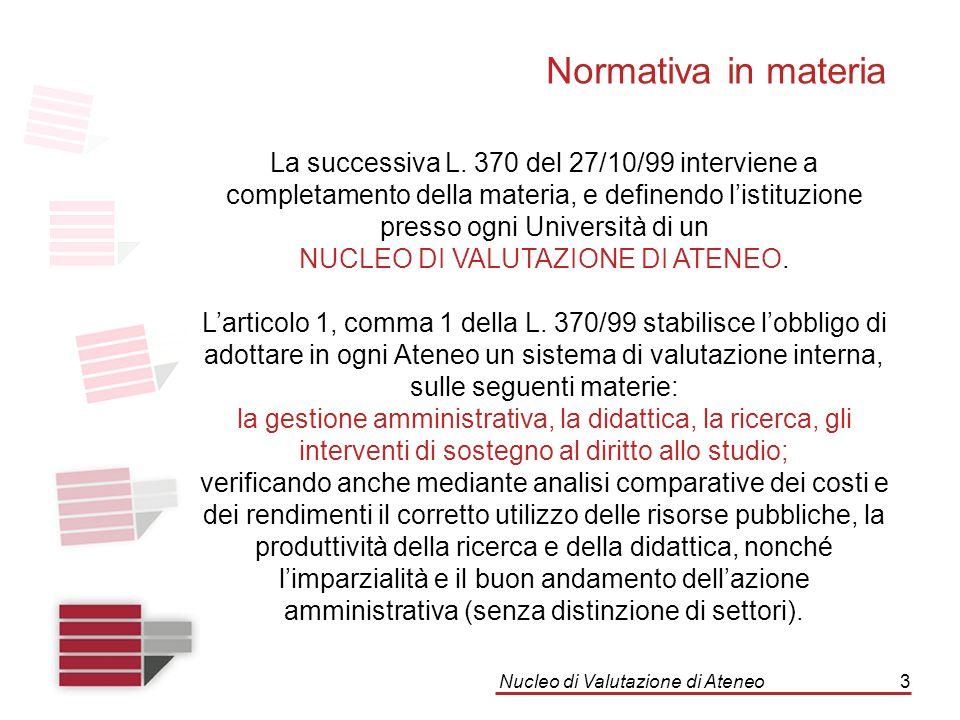 Nucleo di Valutazione di Ateneo3 La successiva L. 370 del 27/10/99 interviene a completamento della materia, e definendo l'istituzione presso ogni Uni