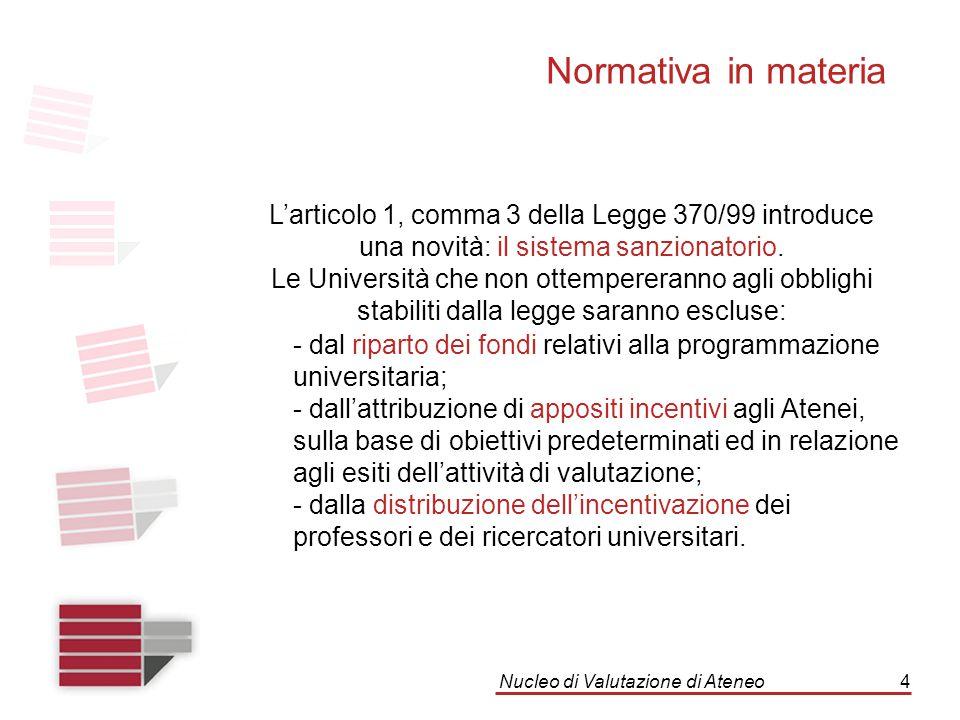 Nucleo di Valutazione di Ateneo4 Normativa in materia L'articolo 1, comma 3 della Legge 370/99 introduce una novità: il sistema sanzionatorio. Le Univ