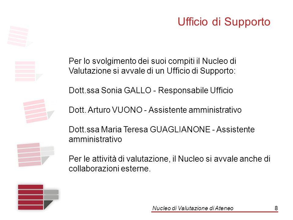 Nucleo di Valutazione di Ateneo8 Ufficio di Supporto Per lo svolgimento dei suoi compiti il Nucleo di Valutazione si avvale di un Ufficio di Supporto: