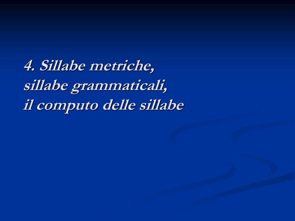 4. Sillabe metriche, sillabe grammaticali, il computo delle sillabe