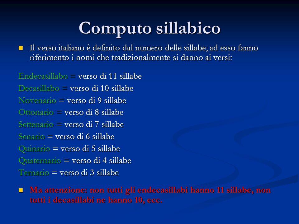 Computo sillabico Il verso italiano è definito dal numero delle sillabe; ad esso fanno riferimento i nomi che tradizionalmente si danno ai versi: Ende
